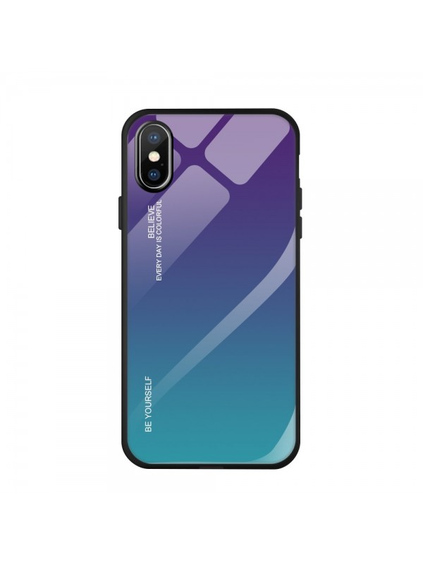 Husa Gradient Glass, iPhone X/XS, Tempered Glass, Verde/Mov
