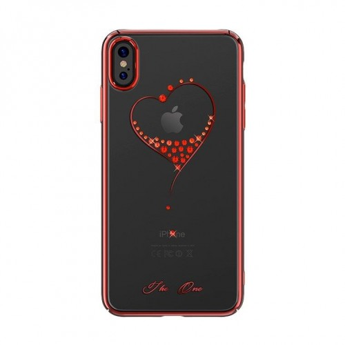 Husa de protectie, Kingxbar Wish Series, Cu Cristale Swarovski, iPhone XS, Transparent/Rosu