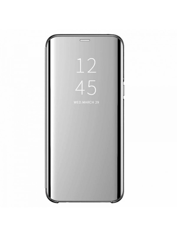 Husa Flip Cover Clear View, Samsung Galaxy A6 (2018), Argintiu