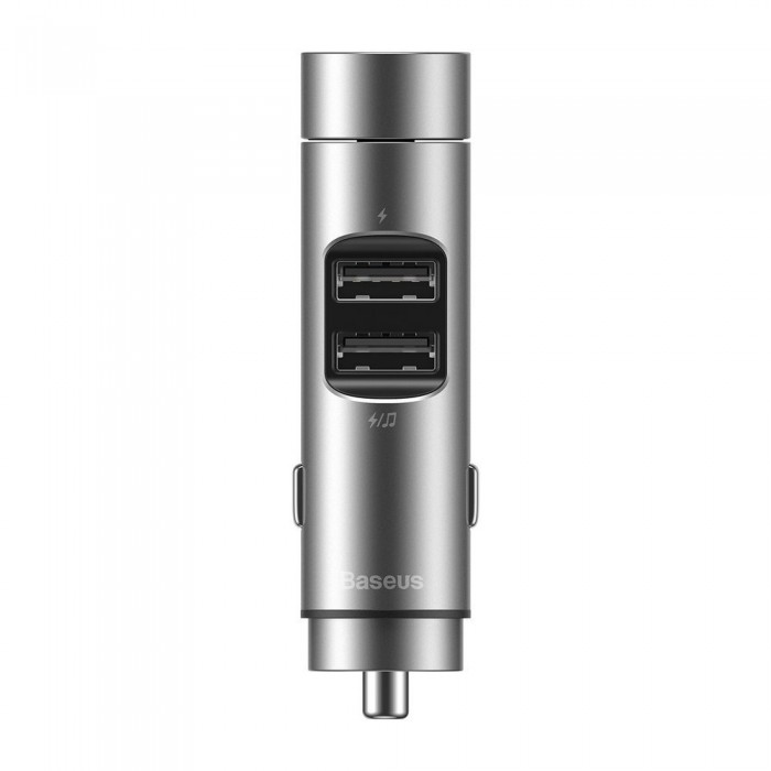 Modulator FM Baseus,  Energy Column Bluetooth, 2 x USB 3,1A, Argintiu