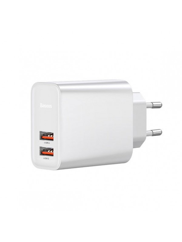 Adaptor priza Baseus, Speed Dual QC3.0 Quick charge, 2 x USB, Alb