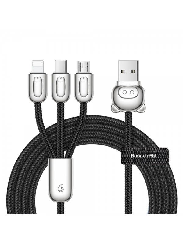 Cablu de date/incarcare Baseus, Three Little Pigs, 3in1 micro USB/Lightning/USB-C, Negru