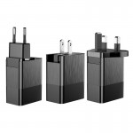 Adaptor priza Baseus, International all in one, 3 x USB, Negru