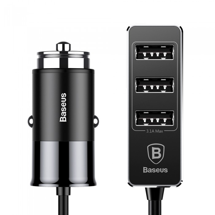 Incarcator Auto Baseus, Enjoy Together Extensie 4 x USB, 5.5 A, Negru