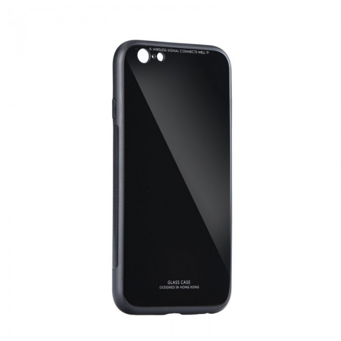 Husa Glass Case - Apple iPhone 6 / 6s, Negru