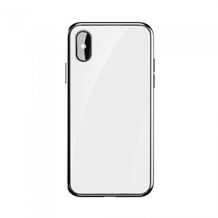 Husa Glass Case - Apple iPhone X, Alb
