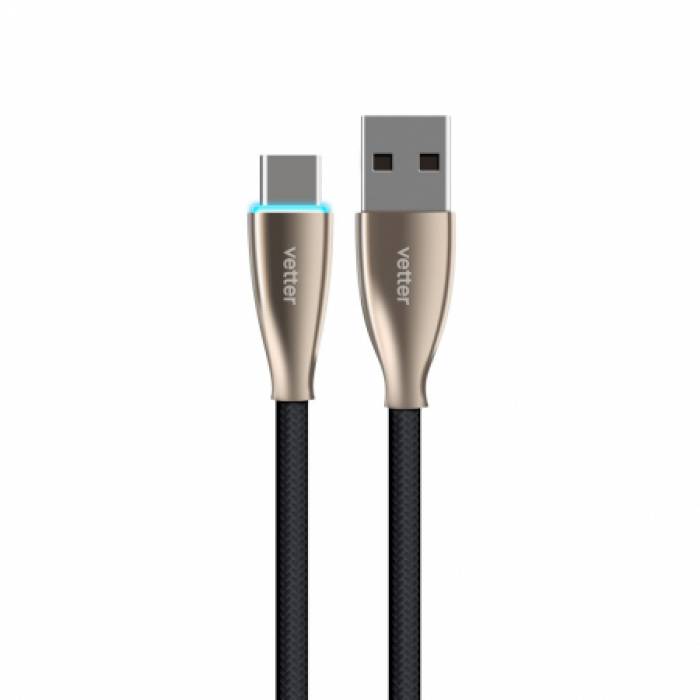 Cablu Type C Cable, Fast Charge 5A, with LED, Vetter ,Negru