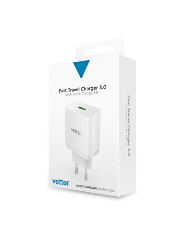 Adaptor priza Universal Travel Charger, Vetter, with Quick Charge 3.0 TECHNOLOGY, Alb
