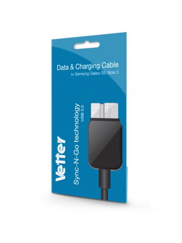 Cablu Date si Incarcare Samsung Galaxy S5, Note 3, Data and Charging Cable, Vetter ,Negru