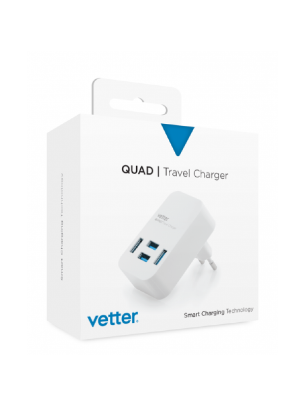 Incarcator Retea Vetter, Quad Travel Charger, 4 x USB, Alb