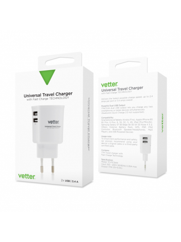 Incarcator Universal Travel Charger, 2 x USB,  3.4A ,Vetter, Alb