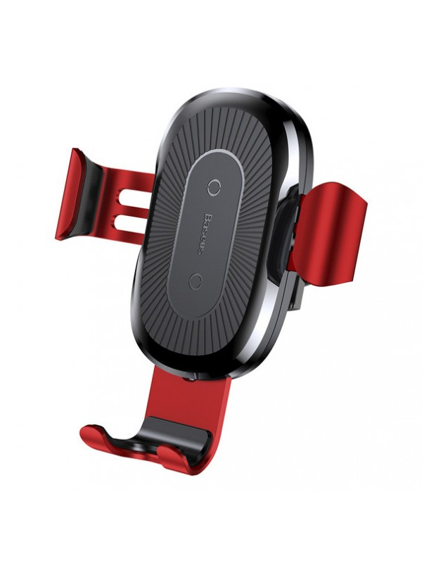 Suport Auto Baseus, Wireless Charger Gravity Car Mount, Rosu