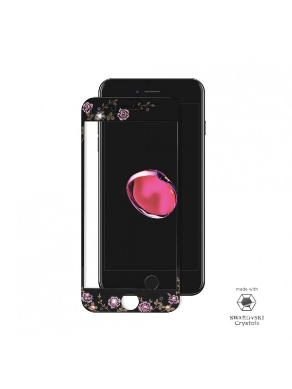 Folie Sticla Vetter iPhone 6, 6s, 7, 8 Full Frame Tempered Glass with Swarovski Crystals,Negru