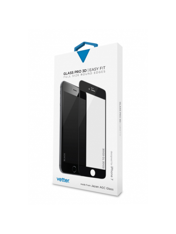 iPhone 8, 7, 6s, 6 3D Tempered Glass Easy Fit Black
